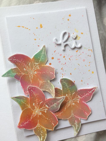 finished watercolour lilies card