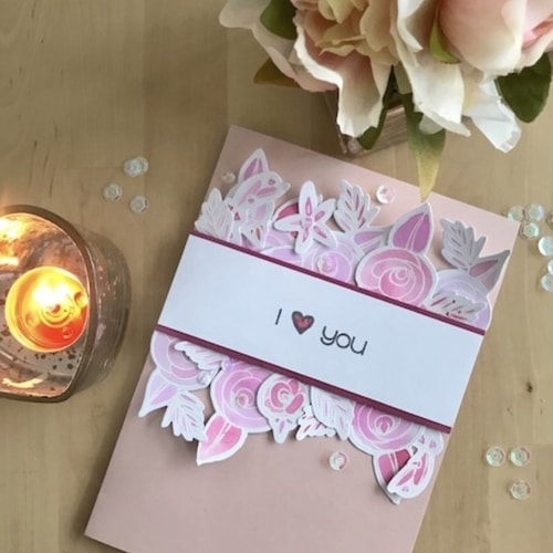 pink roses valentines day card