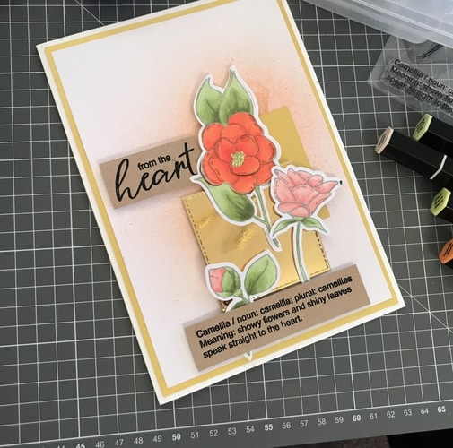 Camellia 'From the Heart' Finished Card