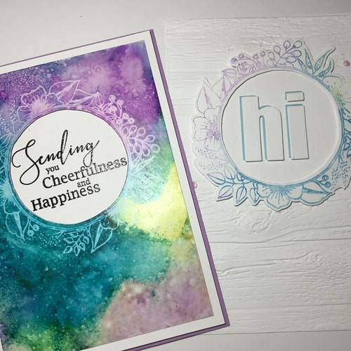 Alcohol ink lift cards using 'Calm Circle' stamp b