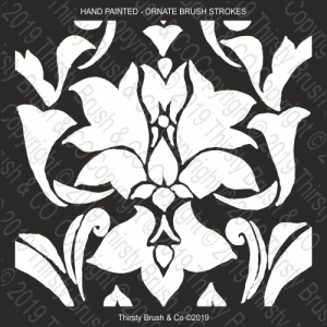 ORNATE BRUSH STROKES STENCIL