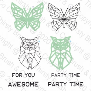 A5 STAMP AND DIE OWL AND BUTTERFLY